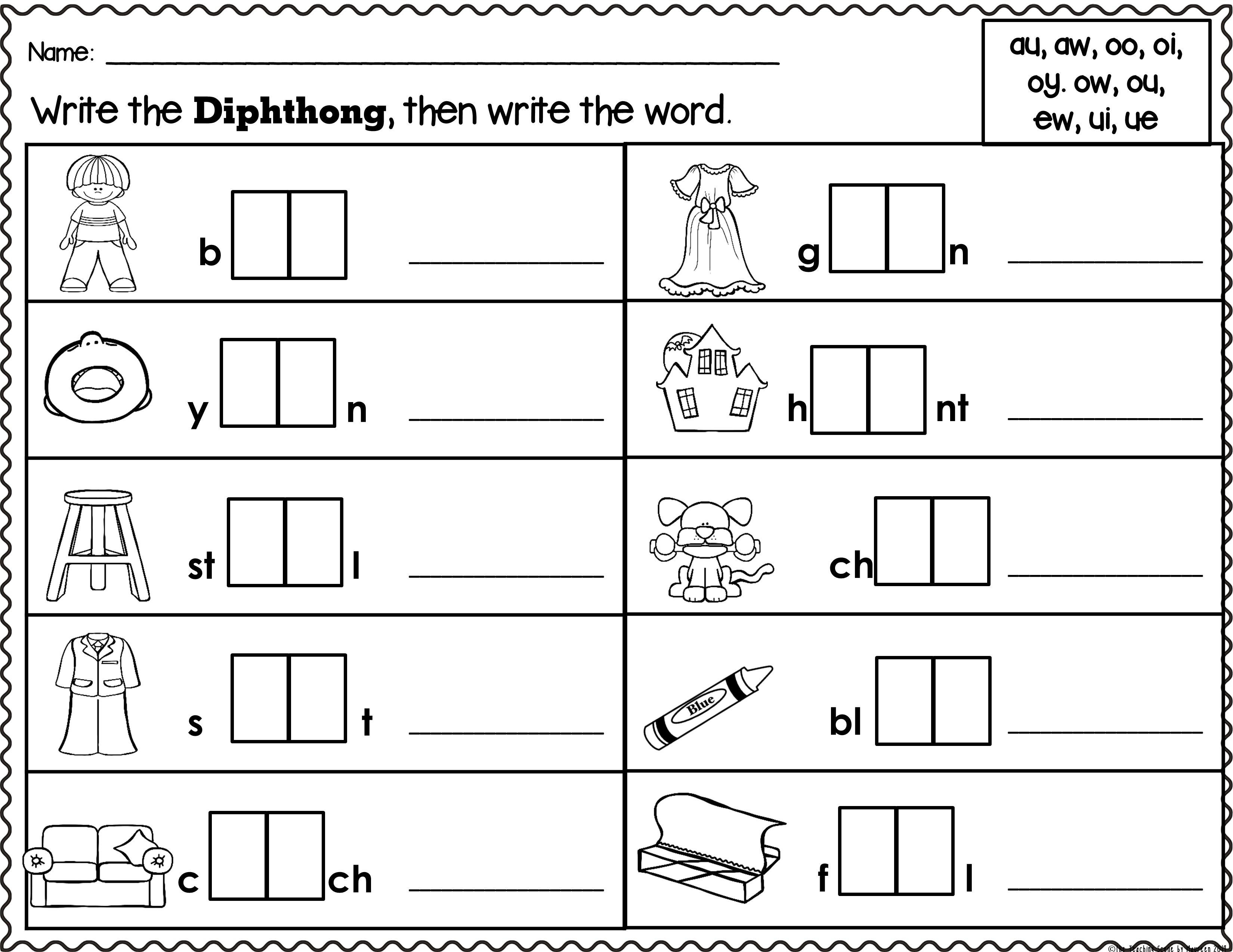 Diphthongs Packet Letters Pictures Words Amp Worksheets