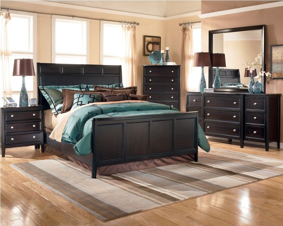 Ashley carlyle panel bedroom set b371 black bedroom - Ashley furniture bedroom packages ...