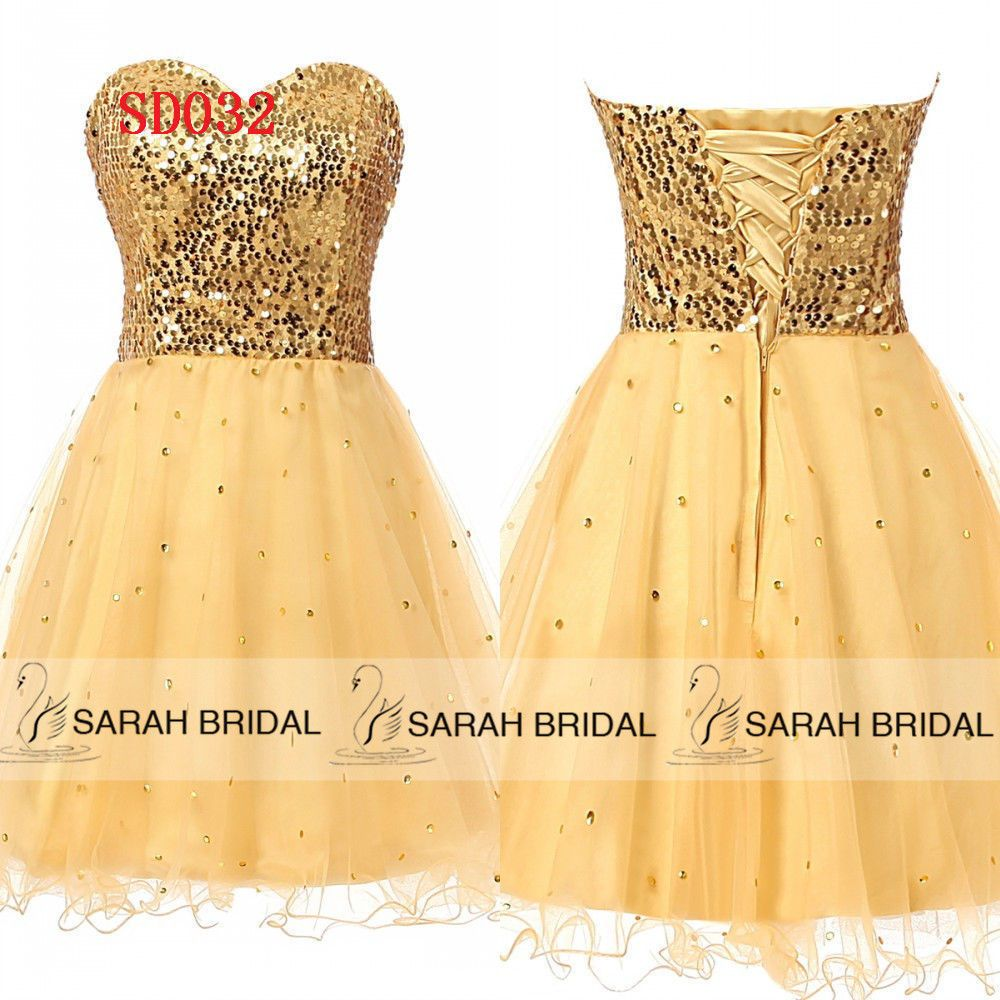 Nice great us gold short prom homecoming ball cocktail gown party