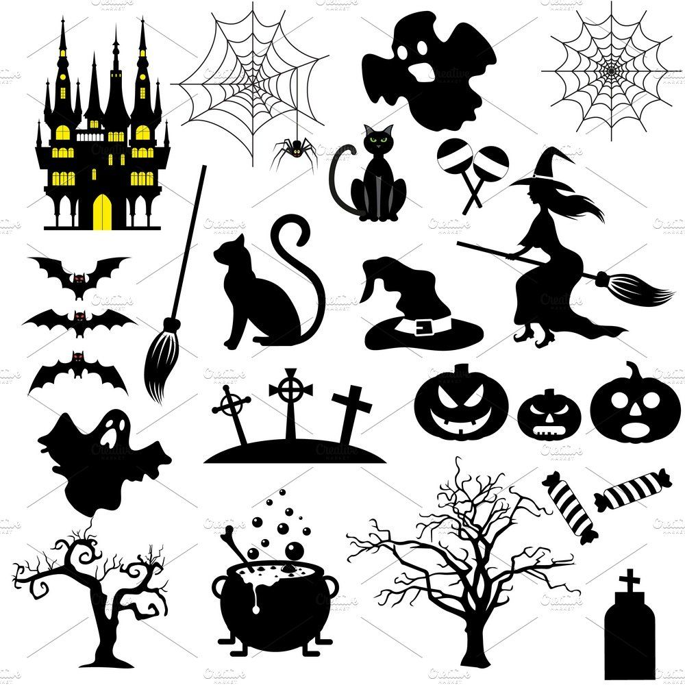 Halloween black and white icons , ad, design