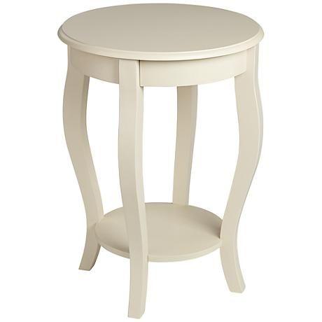 Peyton Round Antique White Accent Table