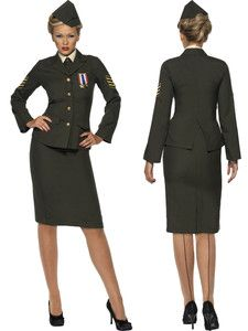 Wartime Officer Army Military Armed Forces 1940s WWII Womens Halloween Costume L | eBay  sc 1 st  Pinterest & Wartime Officer Army Military Armed Forces 1940s WWII Womens ...