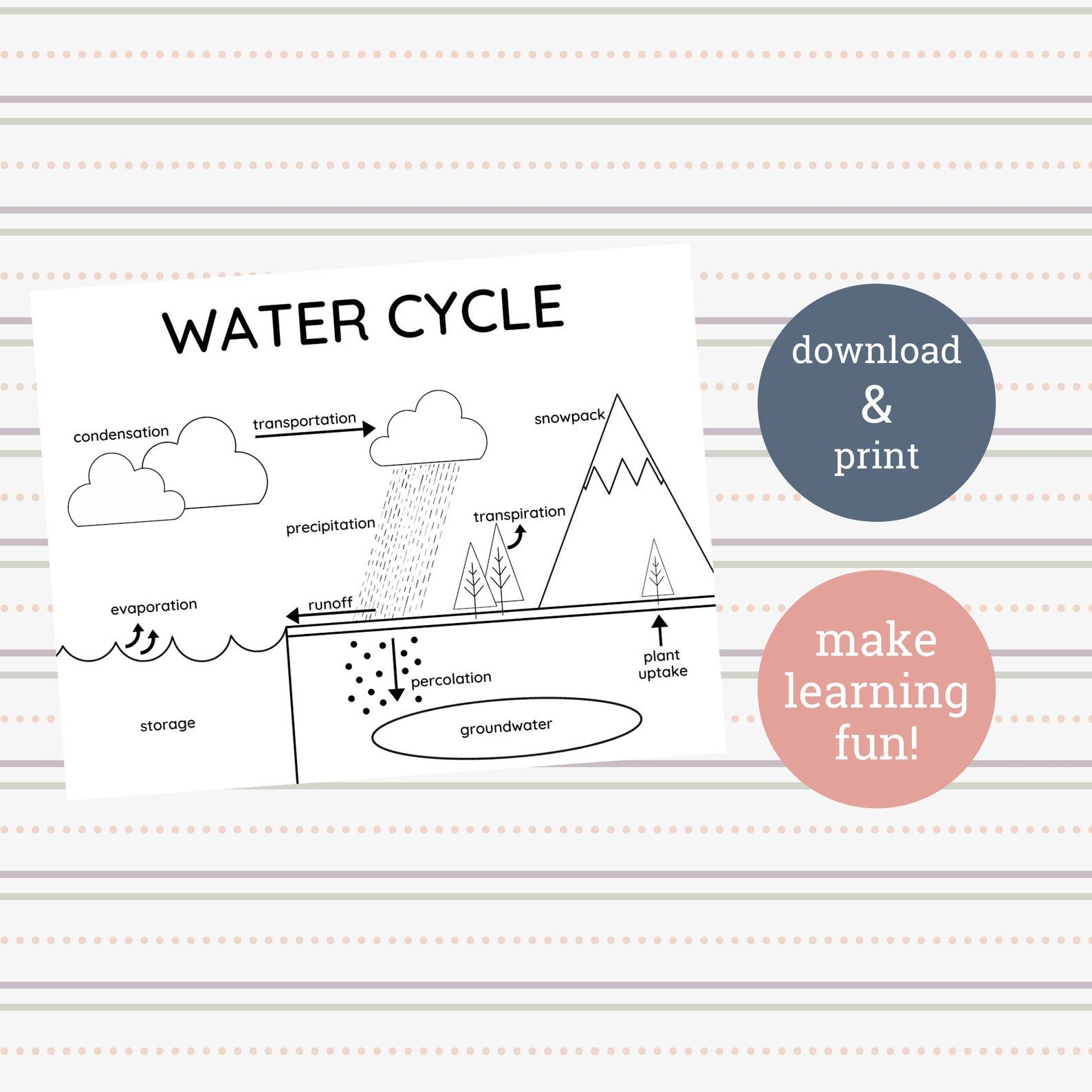 Water Cycle Printable Coloring Sheet in 2020 Printable