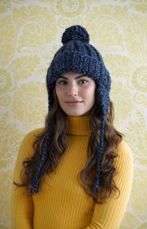 Free Knitting Pattern 70033ad Ribbed Earflap Hat Lion Brand Yarn
