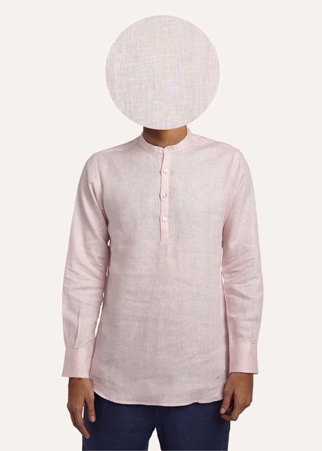 This pink Gheebutter mens shirt is handmade from a super fine linen. Watch it become even softer after each wash. Features mother of pearl buttons & nehru collar. Made in India.  If you are between sizes go for the larger of the two.
