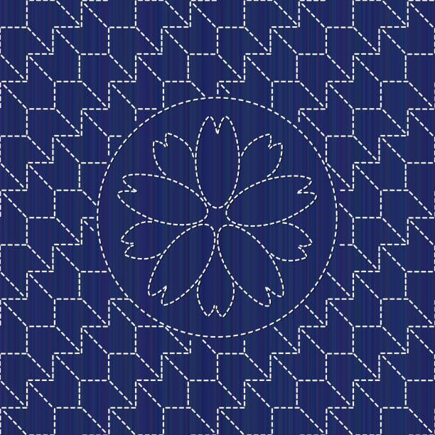 Kimono pattern. Sashiko texture with blooming sakura flower. Abstract…