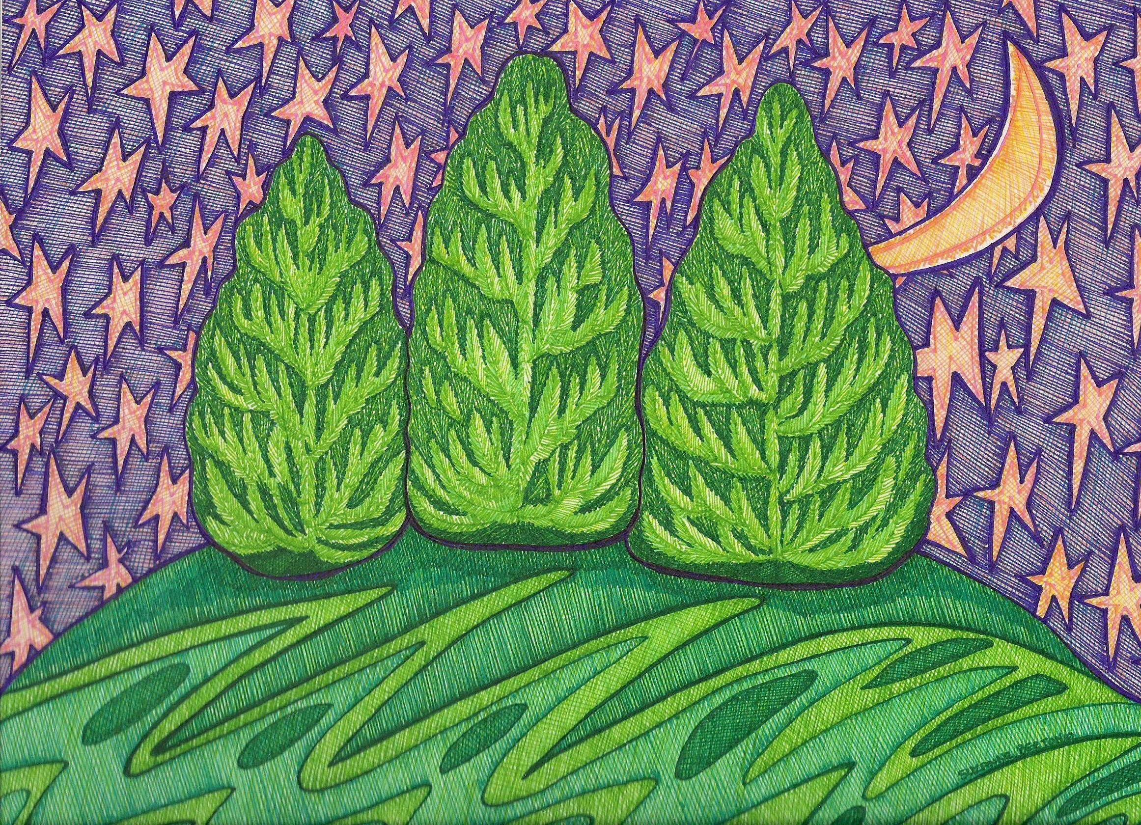Evergreen ~ Stylized version by Suzanne Berton