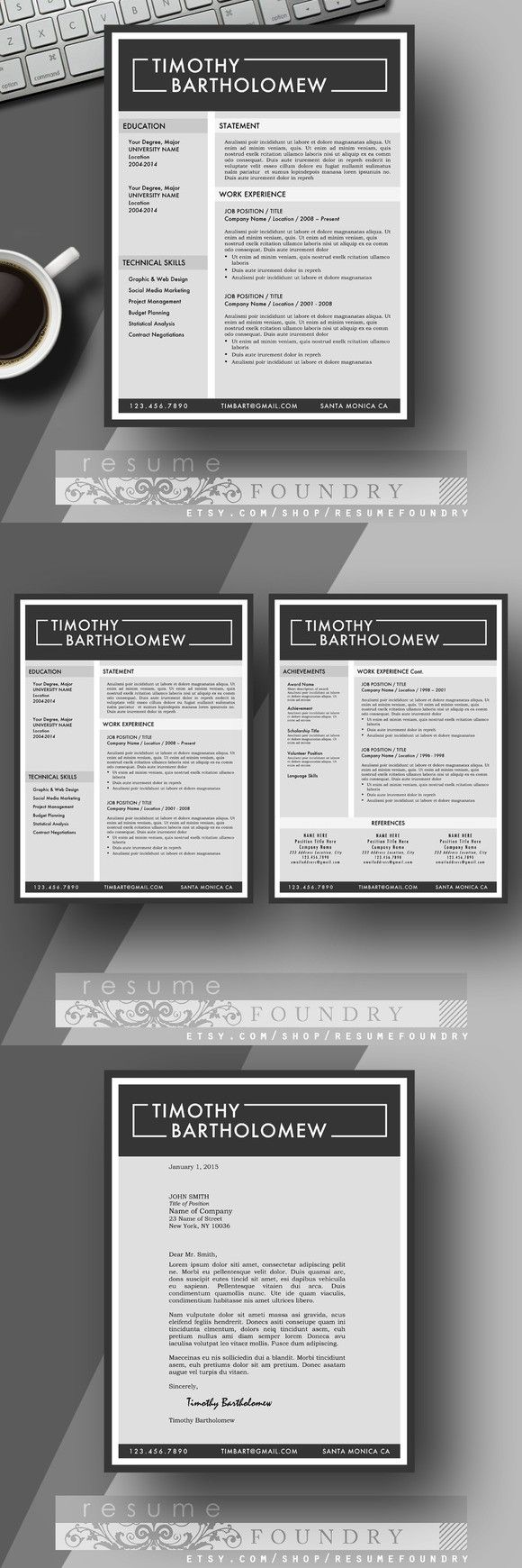 Two Page Resume + Cover Letter | Resume Templates | Pinterest ...