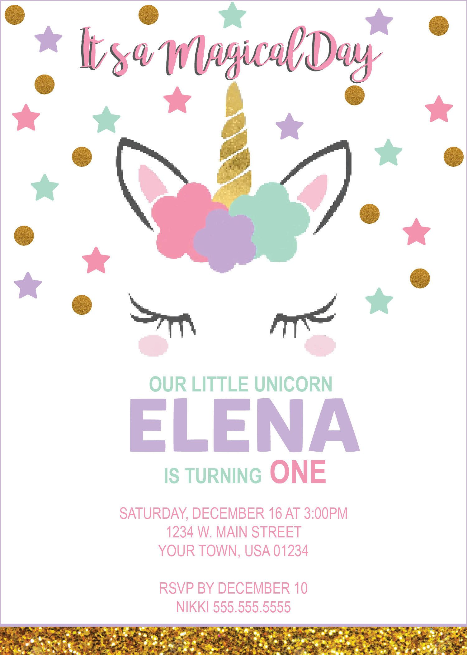 DIGITAL* Unicorn Birthday Party Invitation | Etsy- Nicole Party ...