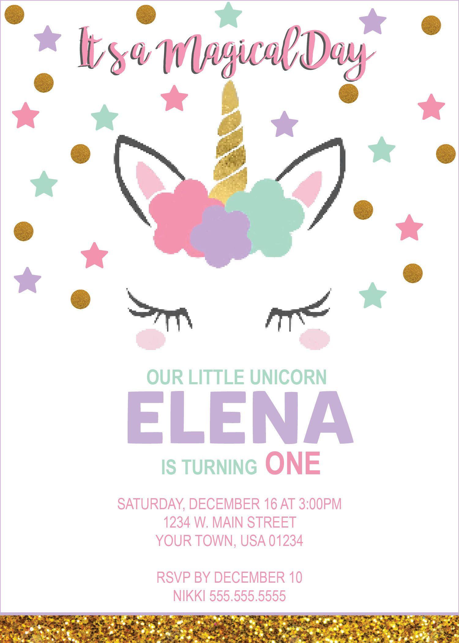 Digital Unicorn Birthday Party Invitation By Nicolepartydesigns On Etsy
