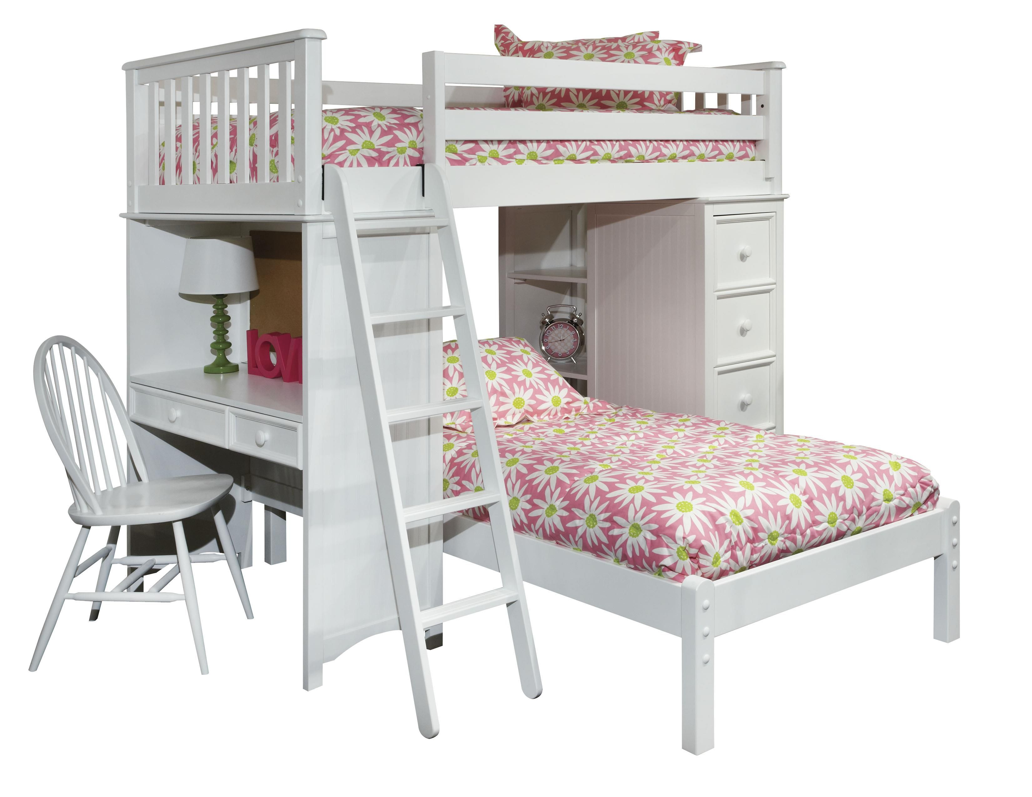 Loft bed with desk and chair  Mulberry Twin Bunk Bed with Desk Chair Sold Separately  Kids