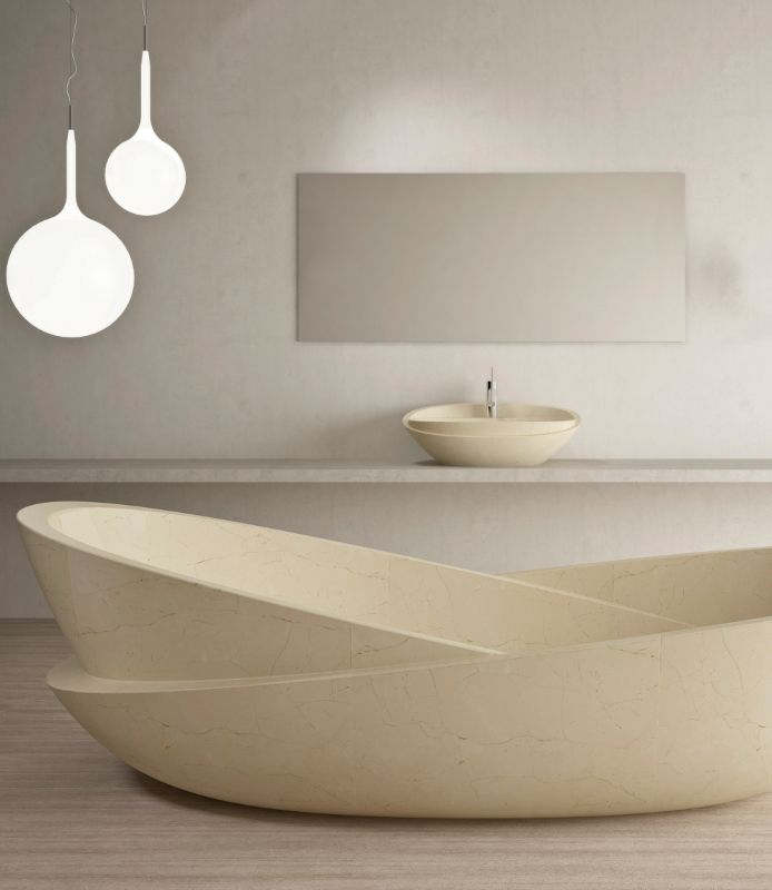 show design of a bathtub. The Purapietra collection will be on show at FUORI CERSAIE circuit