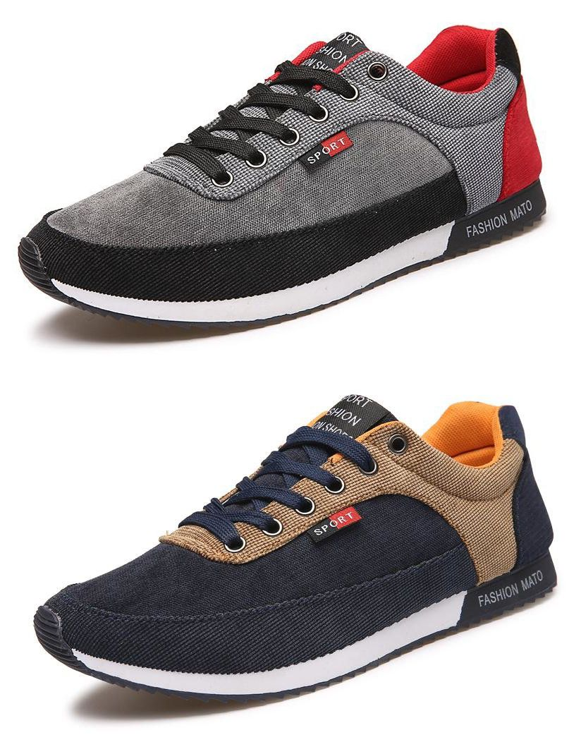 Men Canvas Breathable Sneakers Athletic Sport Casual Running Shoes