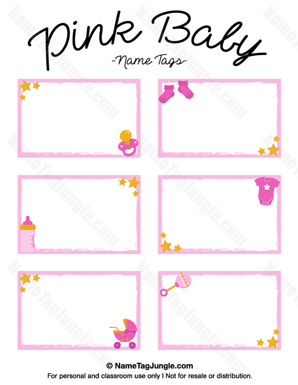 Free printable pink baby name tags the template can also for Baby shower place cards template