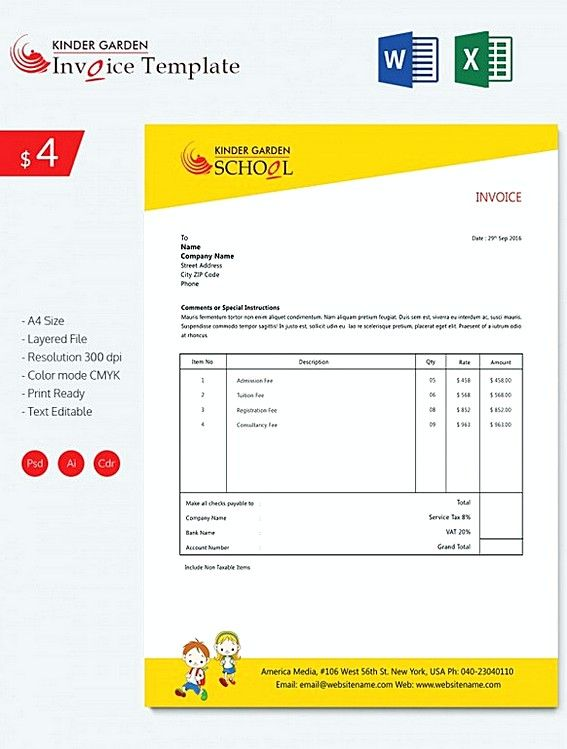 Kindergarten School Invoice templatess , Microsoft Excel Invoice - invoices template free