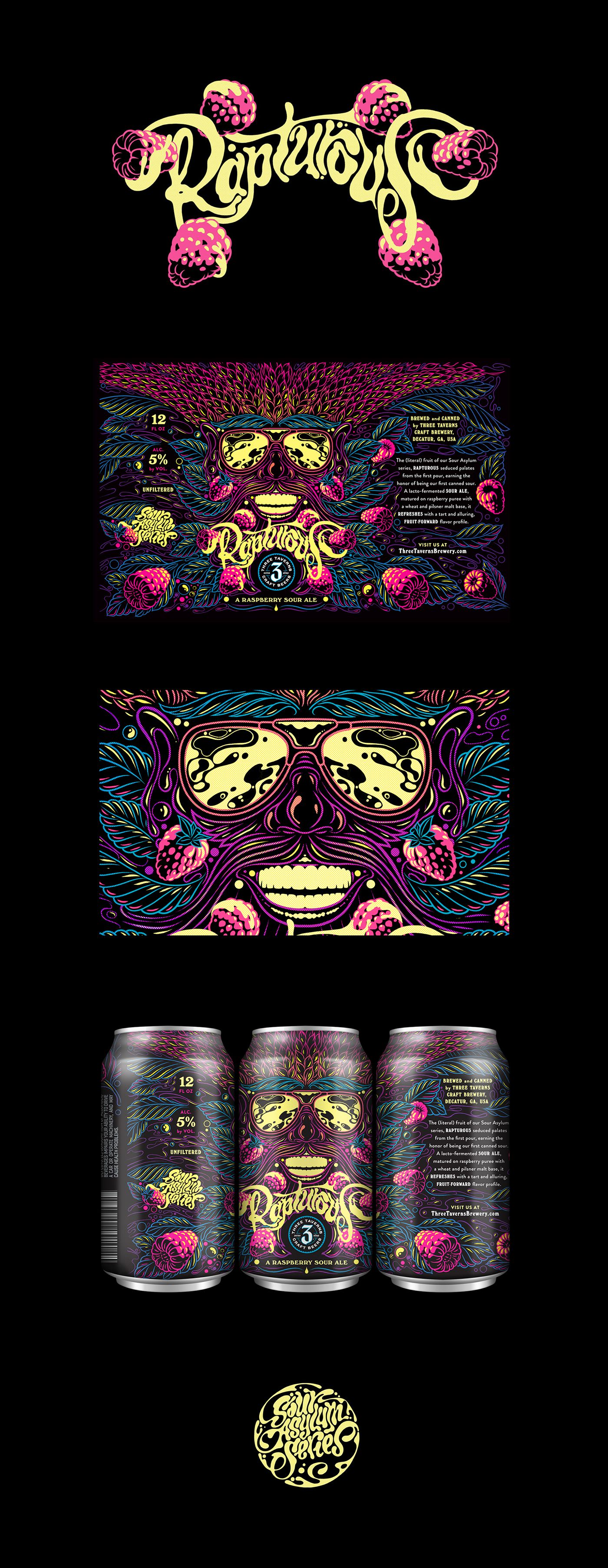 We worked with Atlanta-based agency Metaleap Creative to develop the illustrated packaging for Rapturous, a raspberry sour ale. This is one of Three Taverns Craft Brewery's new Sour Asylum series of lacto-fermented sour ales.