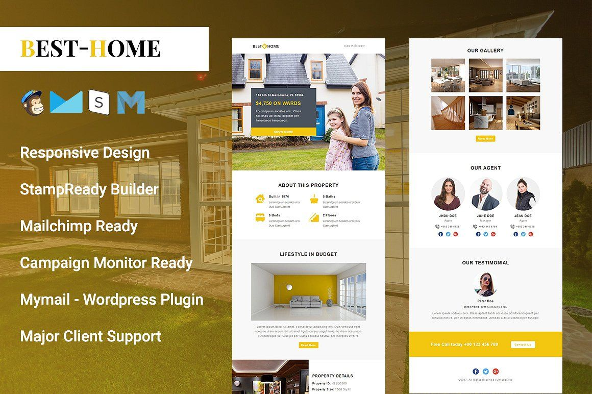 Best Home Responsive Email Template Compatible Templates