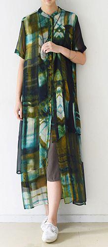 634b4a42fc2 Green print chiffon beach coat plus size casual silk sundress short ...