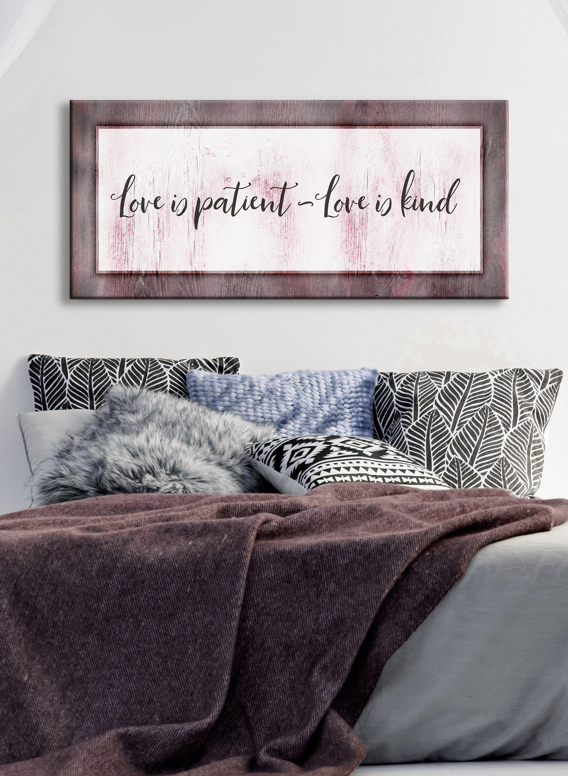 Bedroom wall art love is patient love is kind v2 wood