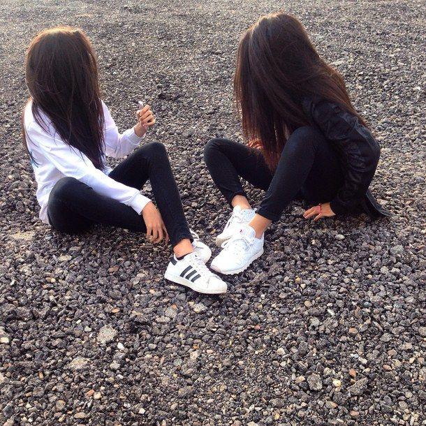 adidas, bestfriends, bff, black, bw - image #3778490 by saaabrina ...