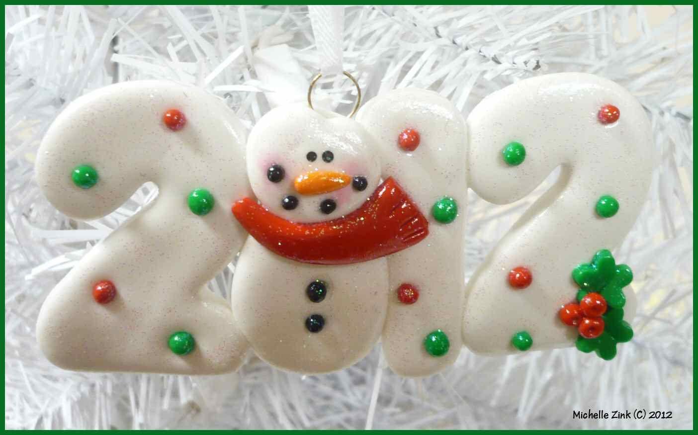 New Polymer Clay Ornament 2012 Snowman Etsy Polymer Clay Ornaments Clay Ornaments Polymer Clay Christmas