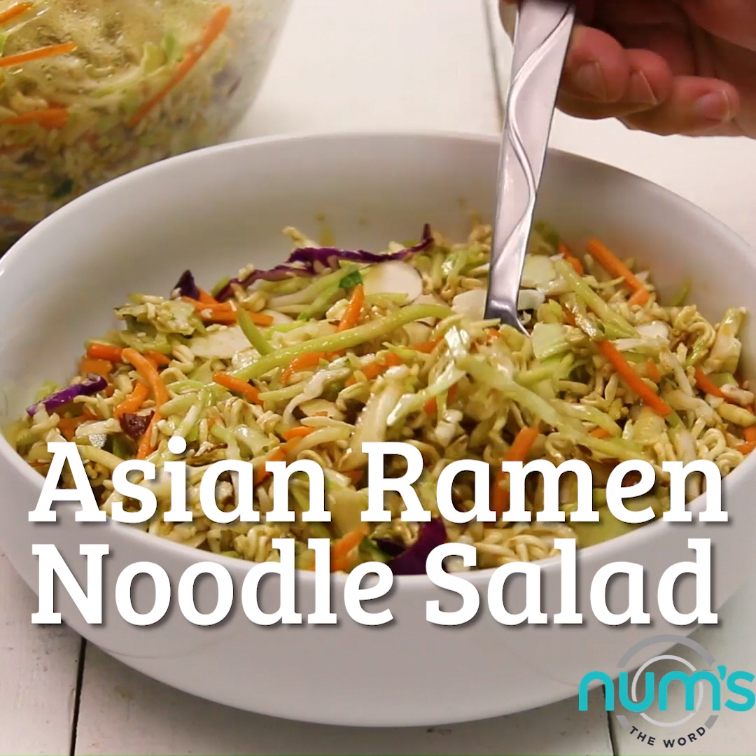 *VIDEO* This Asian Ramen Noodle salad takes 20 minutes to whip together and can be made the night before.  Easy, quick and one of our favorite salads!