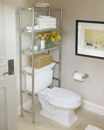 Stainless Steel Bathroom Shelf Over Toilet Design | Decolover.net