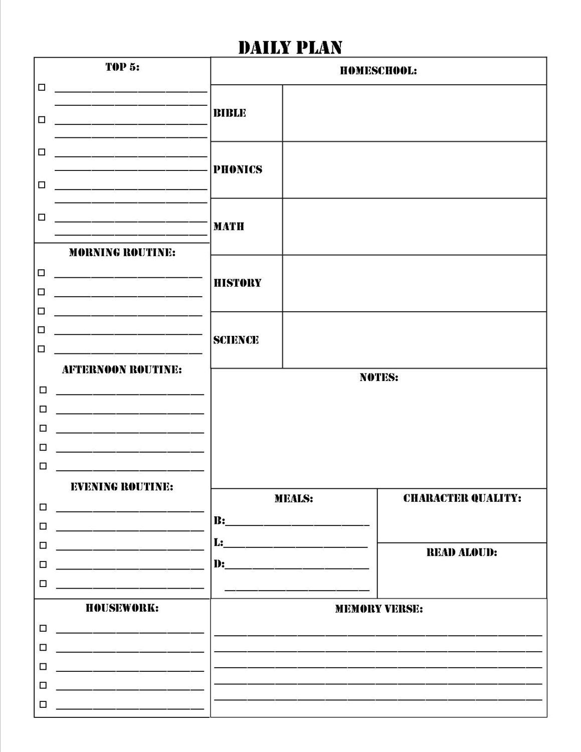 Homeschool Planner Worksheet