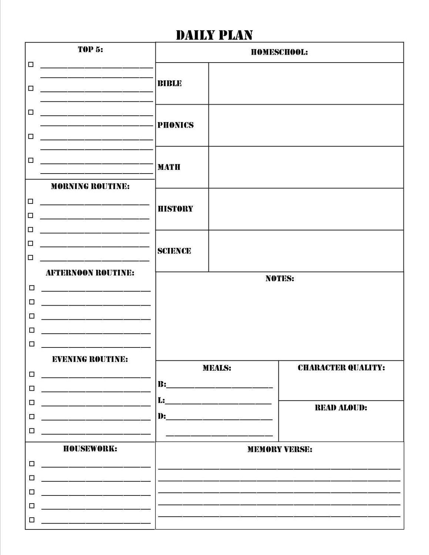 Homeschool Planner Worksheet