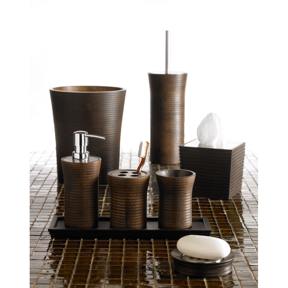 Attirant Add A Natural Feel To Your Bathroom With This Wood Bath Accessory Set. Each  Piece