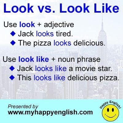 Happy English Look Vs Look Like Learn English Vocabulary