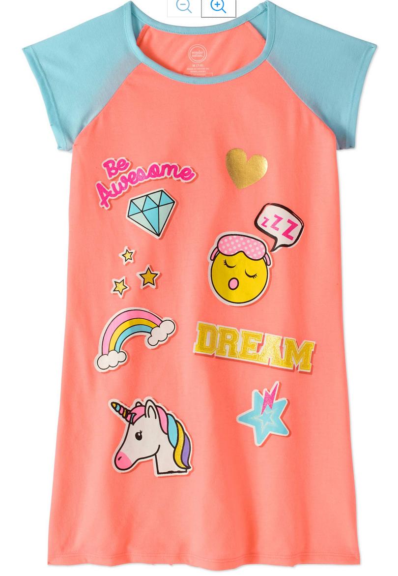 Wonder Nation Girls\' Raglan Sleeve Sleep Gown | MY Designs In Stores ...