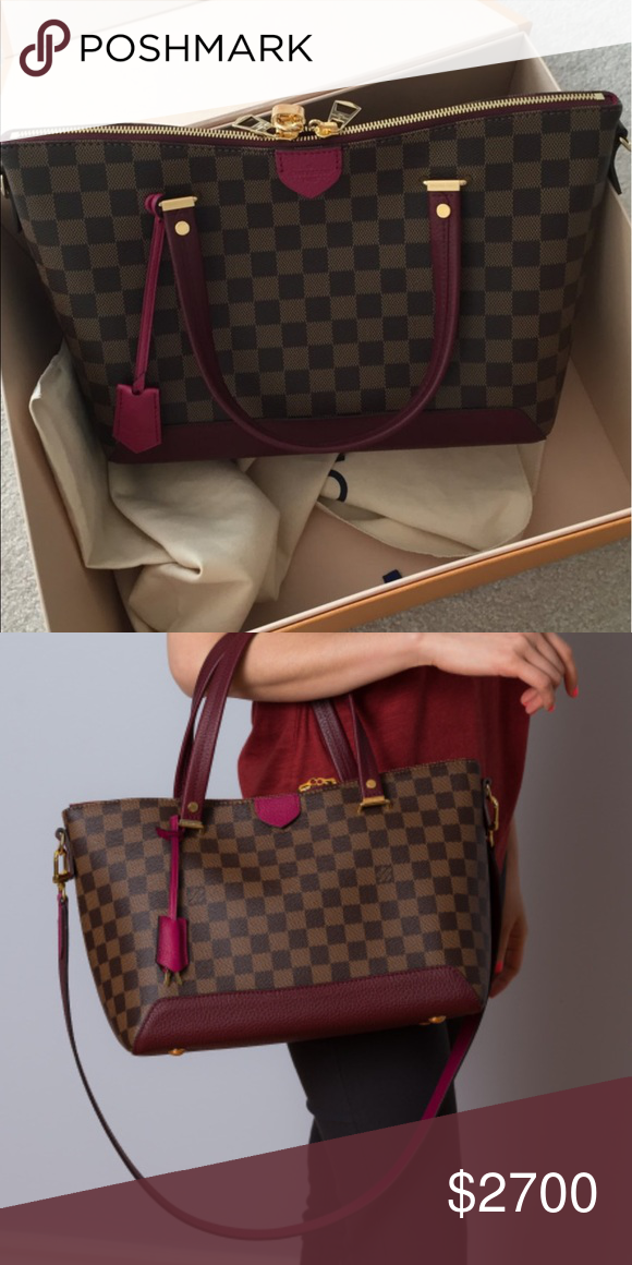 f89fb8e848a Louis Vuitton Hyde Park tote Gorgeous from the luxury house of Louis Vuitton.  Damier outside print with colorful dark fuchsia Cuir Taurillon trim.
