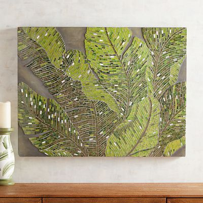 Mosaic Fresh Tropical Leaves Wall Decor is part of Mosaic, Wall decor, Mosaic garden art, Mosaic diy, Mosaic patterns, Mosaic art -
