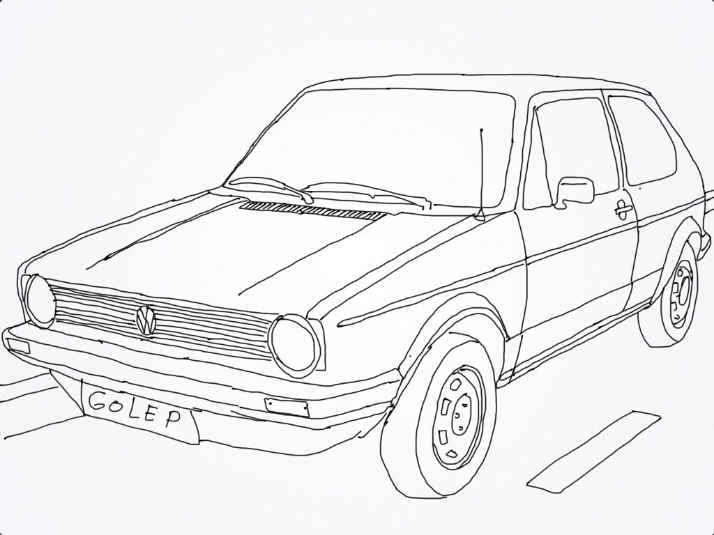 Vw golf mk 1, drawing | Drawing vehicle car motorcycle caferacer ...