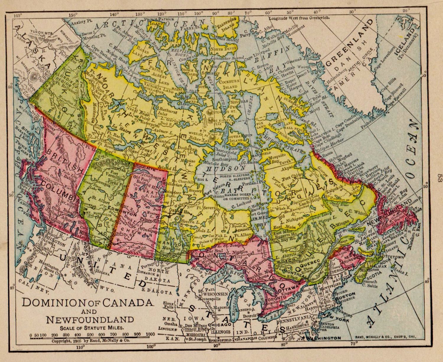 Antique CANADA Map Pretty 1908 Vintage Map of Canada Gallery Wall ...