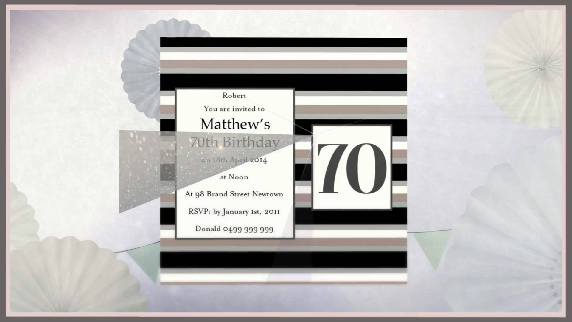 Image result for diy 70th birthday invitations Diy 70th