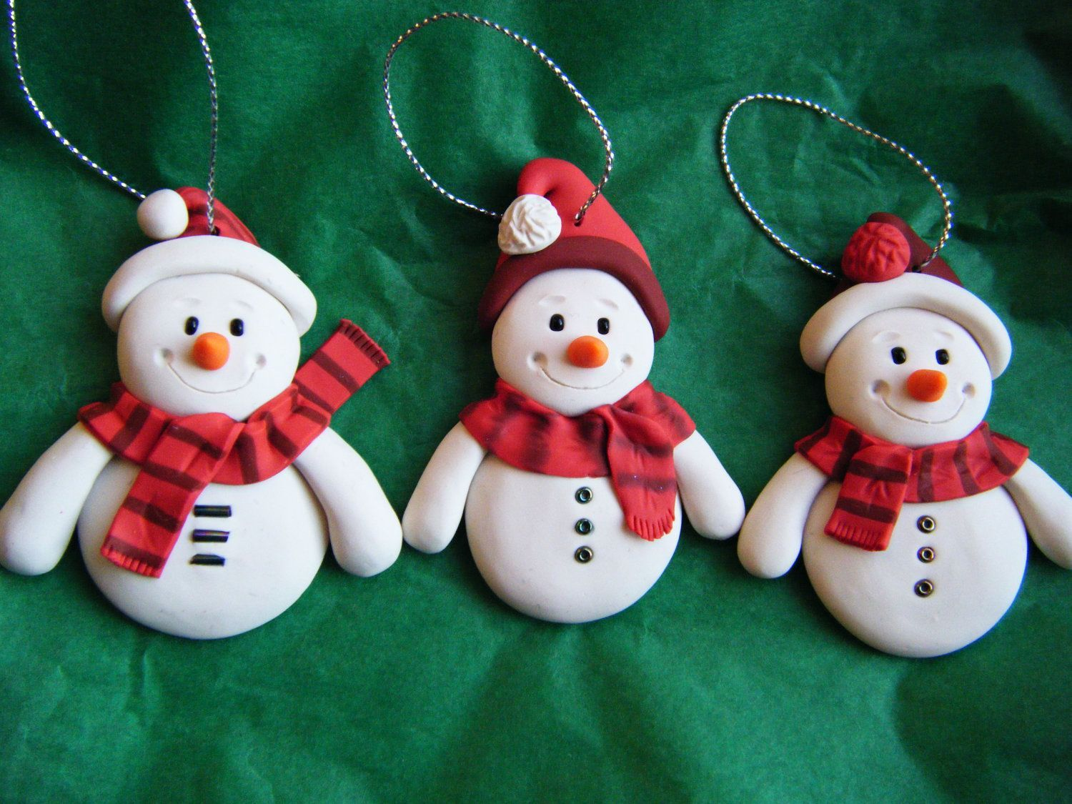 Set Of 3 Made To Order Handmade Sculpey Clay Snowmen Polymer Clay Christmas Clay Christmas Decorations Christmas Clay