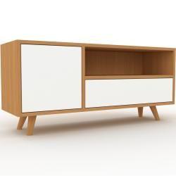 Lowboard Eiche – Tv-board: Schubladen in Weiß & Türen in Weiß – Hochwertige Materialien – 116 x 53 x