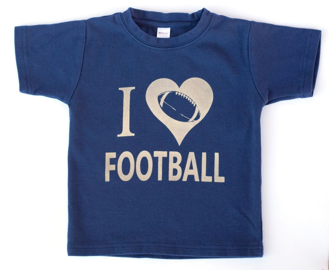 I Love Football Toddler or Kids Shirt, Ink Free, Sizes 12m to 8y, High Quality Tshirt, click for more colors. $23.00, via Etsy.