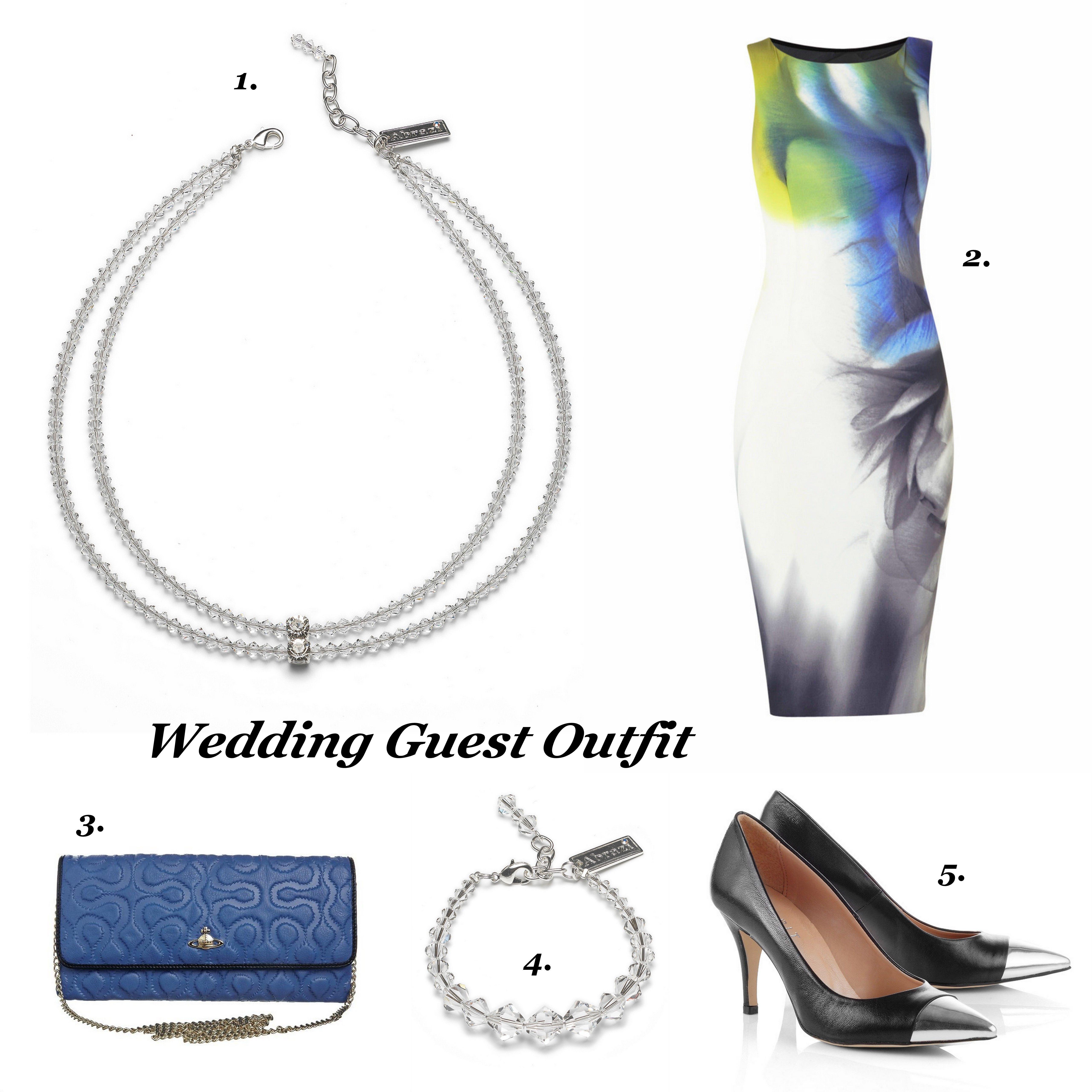 Lovely wedding guest outfit!  1.Necklace: Abrazi, 2.Dress: Karen Millen, 3.Clutch: Vivienne Westwood, 4.Bracelet: Abrazi, 5.Pumps: Esprit