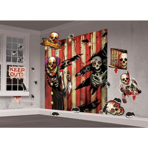 Creepy Carnival Wall Decorating Kit Amscan   www/dp - circus halloween decorations