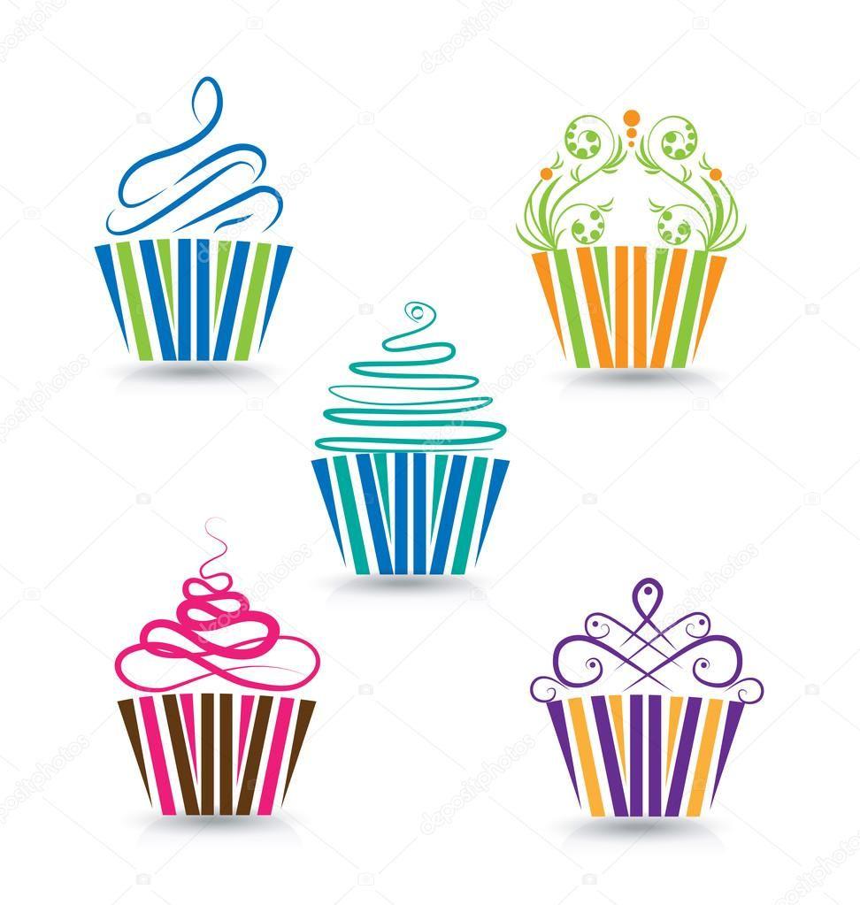 Modello Di Logo Stilizzato Di Cupcake Illustrazione Stock