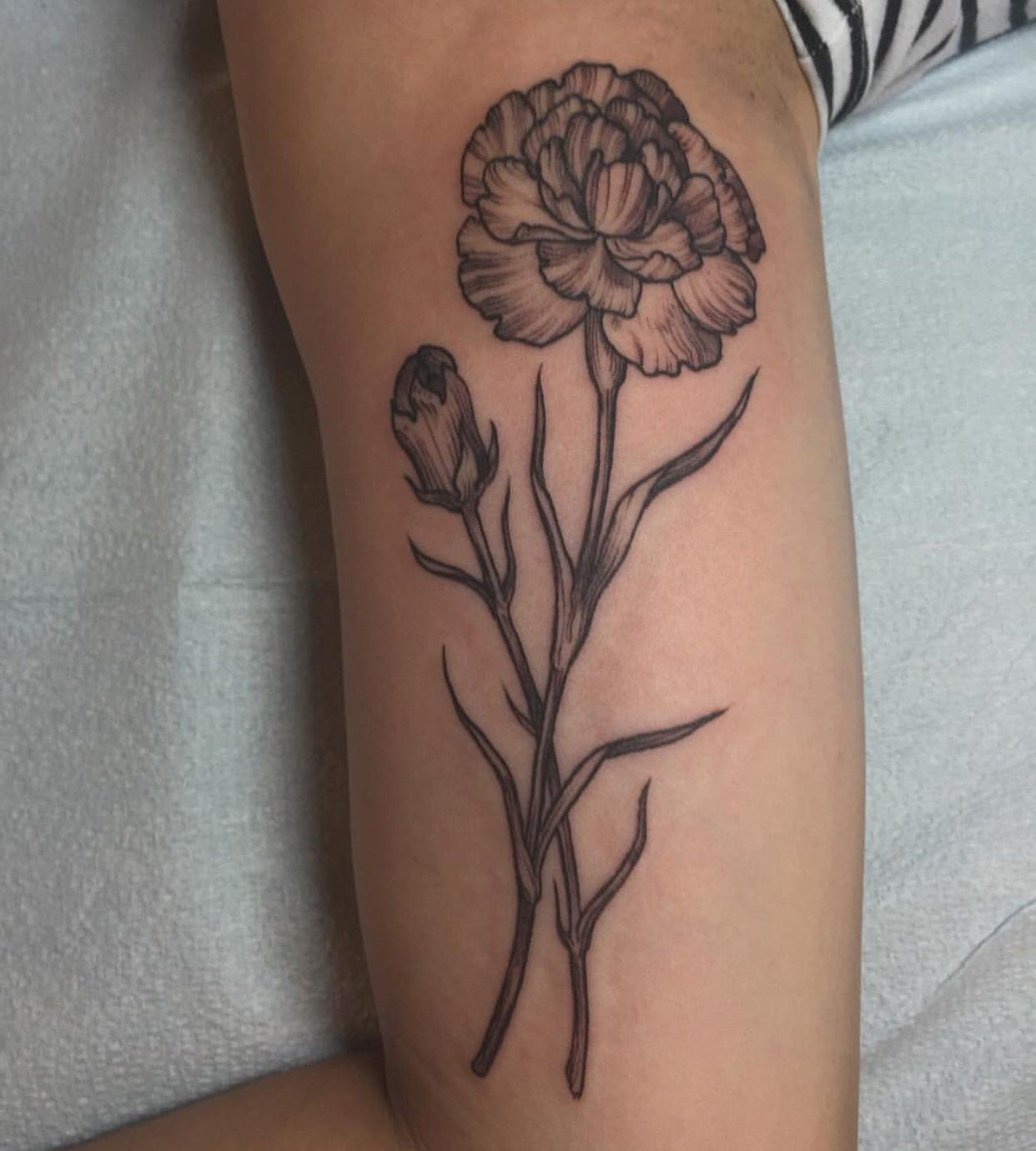 MarigoldOctober birth flower Carnation tattoo, Birth