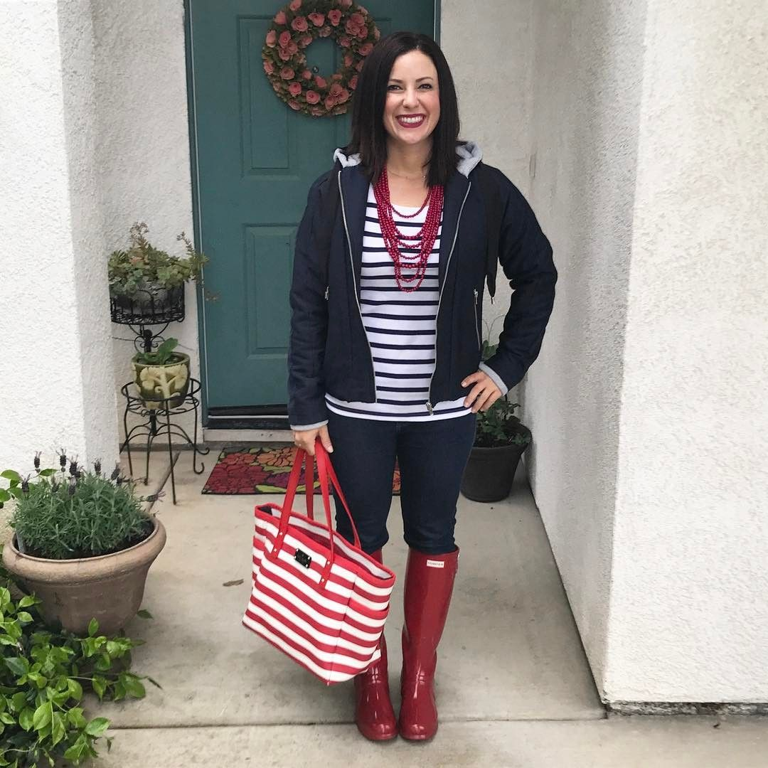 Rainy Day Outfit Red Hunter Boots Striped Shirt Tote Casual Style