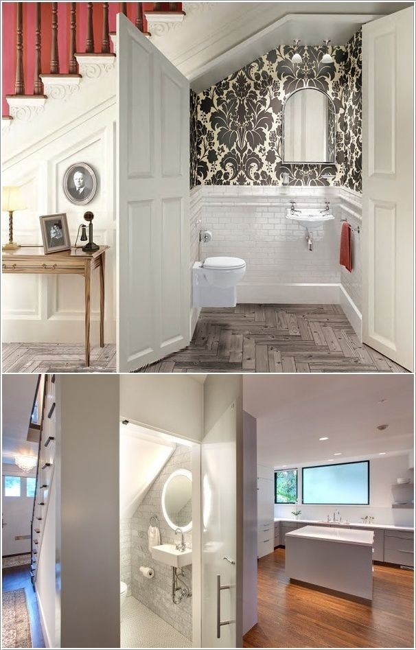 Ideal space for that guest toilet/cloak room.  Love the little touch of glamour with the patterned wallpaper...makes the space!