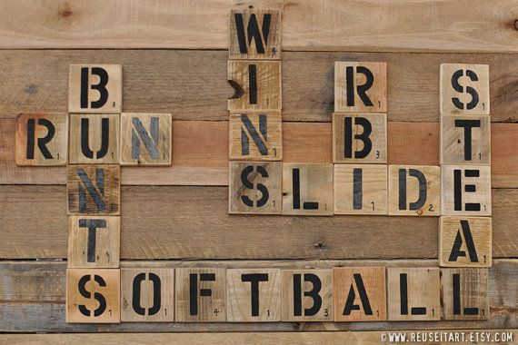 Sports Collage Wall Decor : Softball enthusiast pallet art word collage sports room