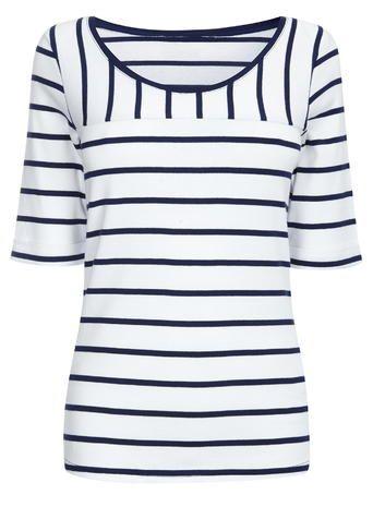 Navy Half Sleeve Stripe Cotton Top