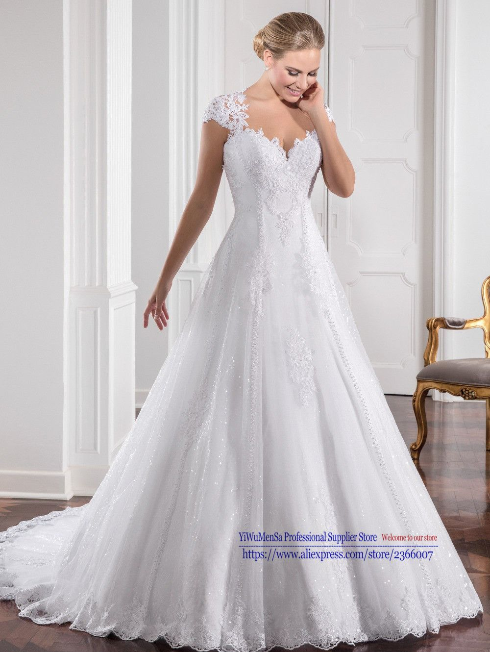 New arrival appliques mermaid long wedding dresses lace short
