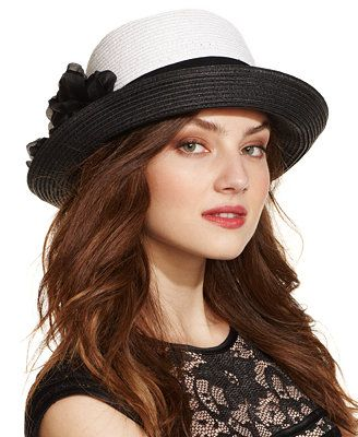 Nine West Black & White Cloche with Flower Pin
